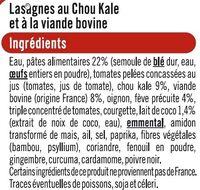 Lasagne au chou kale et à la viande bovine - Ingrédients - fr