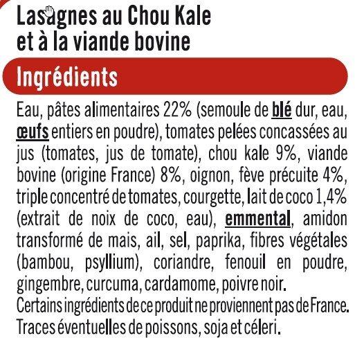 Lasagne au chou kale et à la viande bovine - Ingredients - fr
