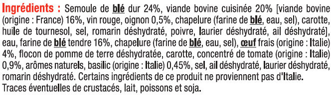 Ravioli au boeuf - Ingrédients - fr