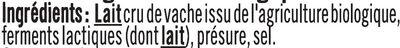 Demi reblochon de Savoie AOP BIO lait cru, 28% de MG - Ingrédients