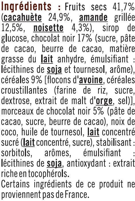 Barres de céréales chocolat cacahuètes - Ingrédients