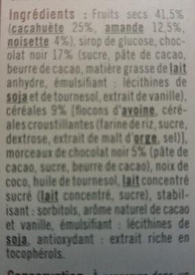 Barres de céréales chocolat cacahuètes - Ingredients - fr