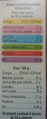 Barres de céréales chocolat cacahuètes - Nutrition facts - fr