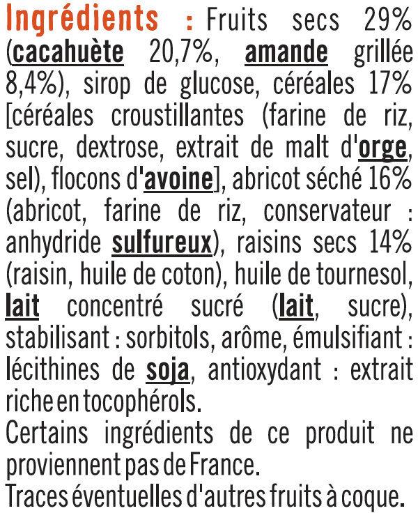 Barres de céréales abricot cacahuètes - Ingrediënten - fr