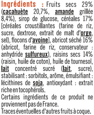 Barres de céréales abricot cacahuètes - Ingrédients - fr