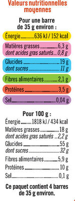 Barres de céréales abricot cacahuètes - Voedingswaarden - fr