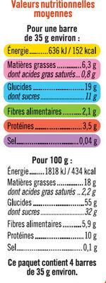 Barres de céréales abricot cacahuètes - Informations nutritionnelles - fr