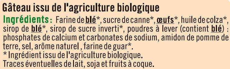 Gâteau nature barre Bio - Ingrédients - fr