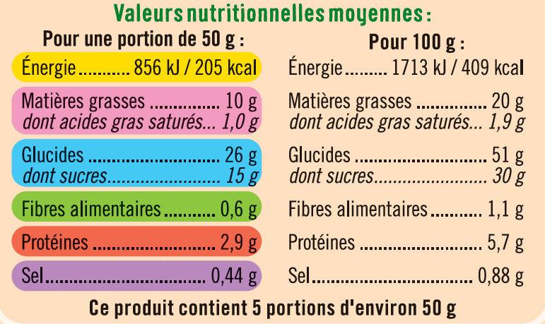 Gâteau nature barre Bio - Informations nutritionnelles - fr