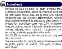 Colin d'Alaska sauce curry vert et lait de coco - Ingrediënten - fr