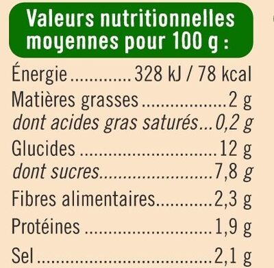 Sauce tomate aux petits légumes - Informations nutritionnelles - fr