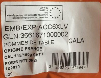 Pomme gala, calibre 115/150 catégorie 1 - Ingredients