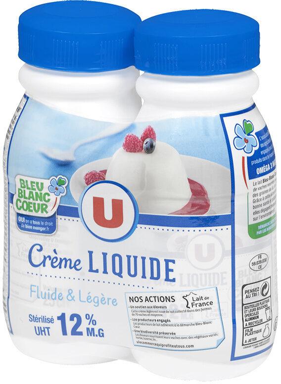 Crème UHT légère liquide bleu blanc coeur 12% de MG - Product - fr