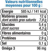 Crème UHT légère liquide bleu blanc coeur 12% de MG - Voedingswaarden - fr