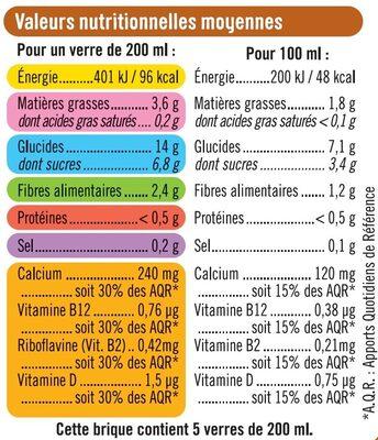 Boisson végétale saveur avoine - Informació nutricional