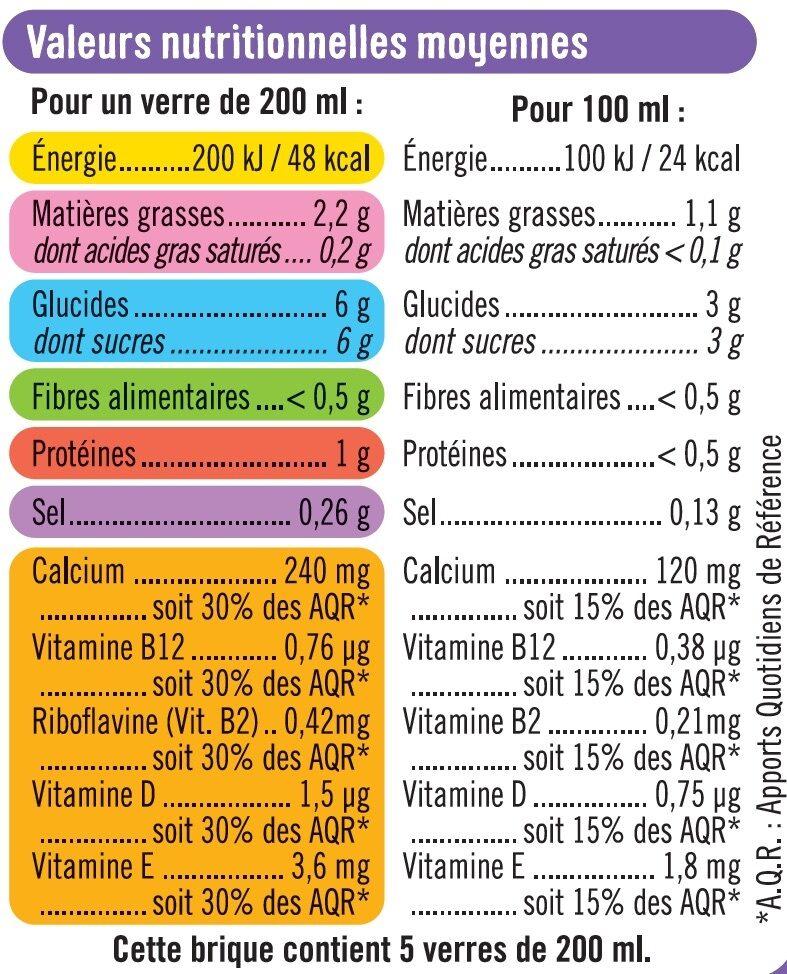 Boisson végétale saveur amande - Informations nutritionnelles - fr