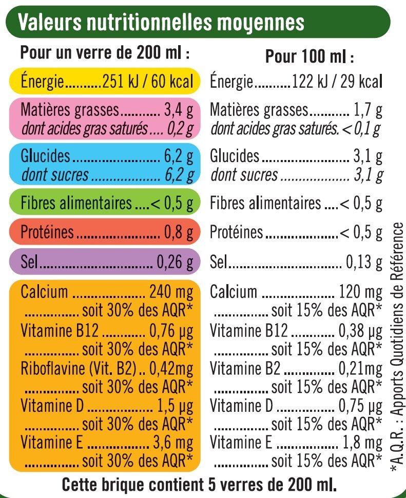 Boisson végétale saveur noisette - Informations nutritionnelles - fr
