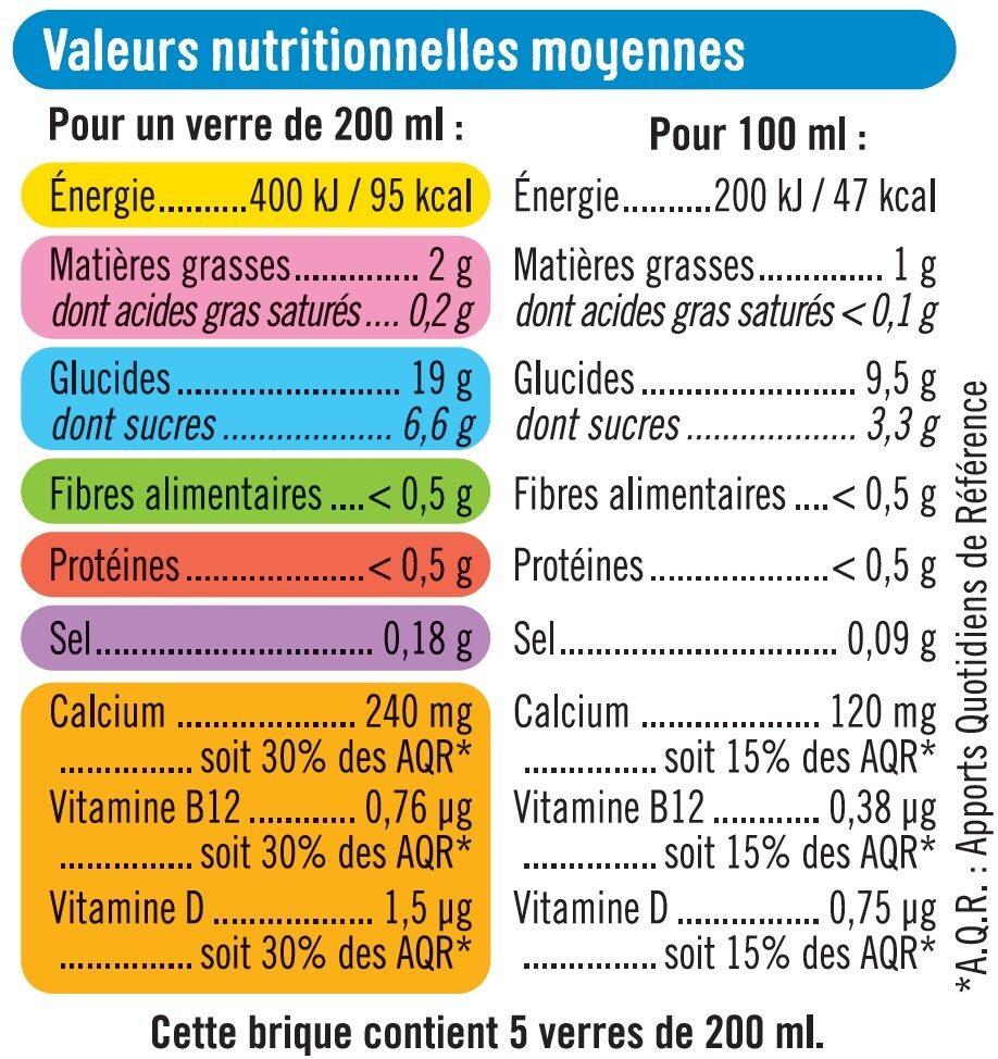 Boisson végétale saveur riz calcium - Informations nutritionnelles - fr