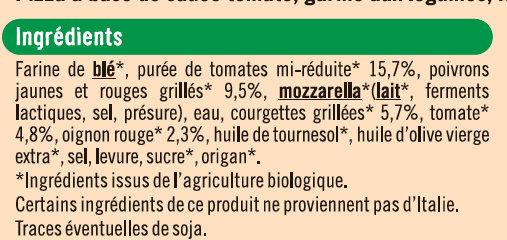 Pizza légumes - Ingrédients - fr
