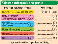 Pizza légumes - Informations nutritionnelles - fr