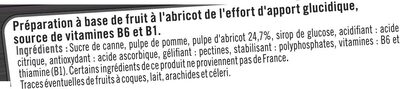 Booster sport + goût abricot - Ingrédients