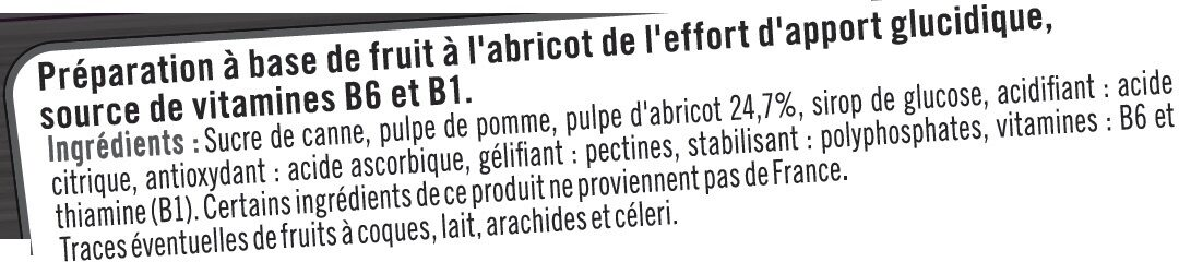 Booster sport + goût abricot - Ingrédients - fr