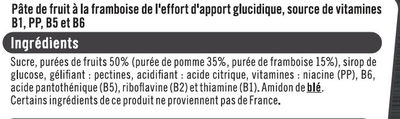Pâtes de fruits sport+framboise - Ingredients - fr