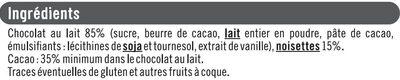 Tablettes chocolat noisette - Ingrédients