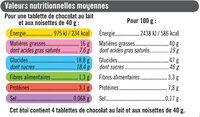 Tablettes chocolat noisette - Informations nutritionnelles