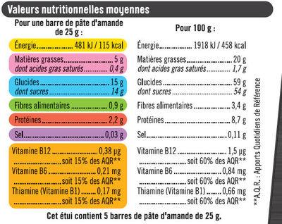 Barres sport+ amande - Nutrition facts - fr