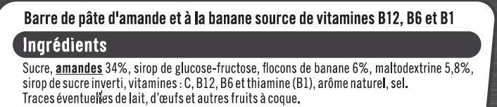 Barres sport+ amande et banane - Ingredients - fr