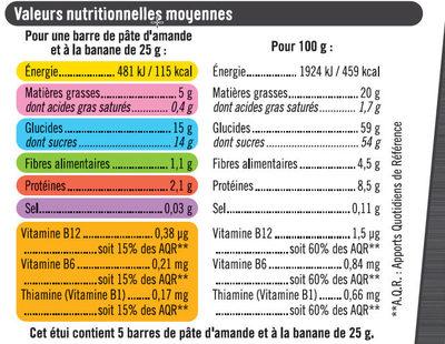 Barres sport+ amande et banane - Nutrition facts - fr
