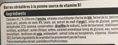 Barres de céréales aux pommes - Ingredients - fr