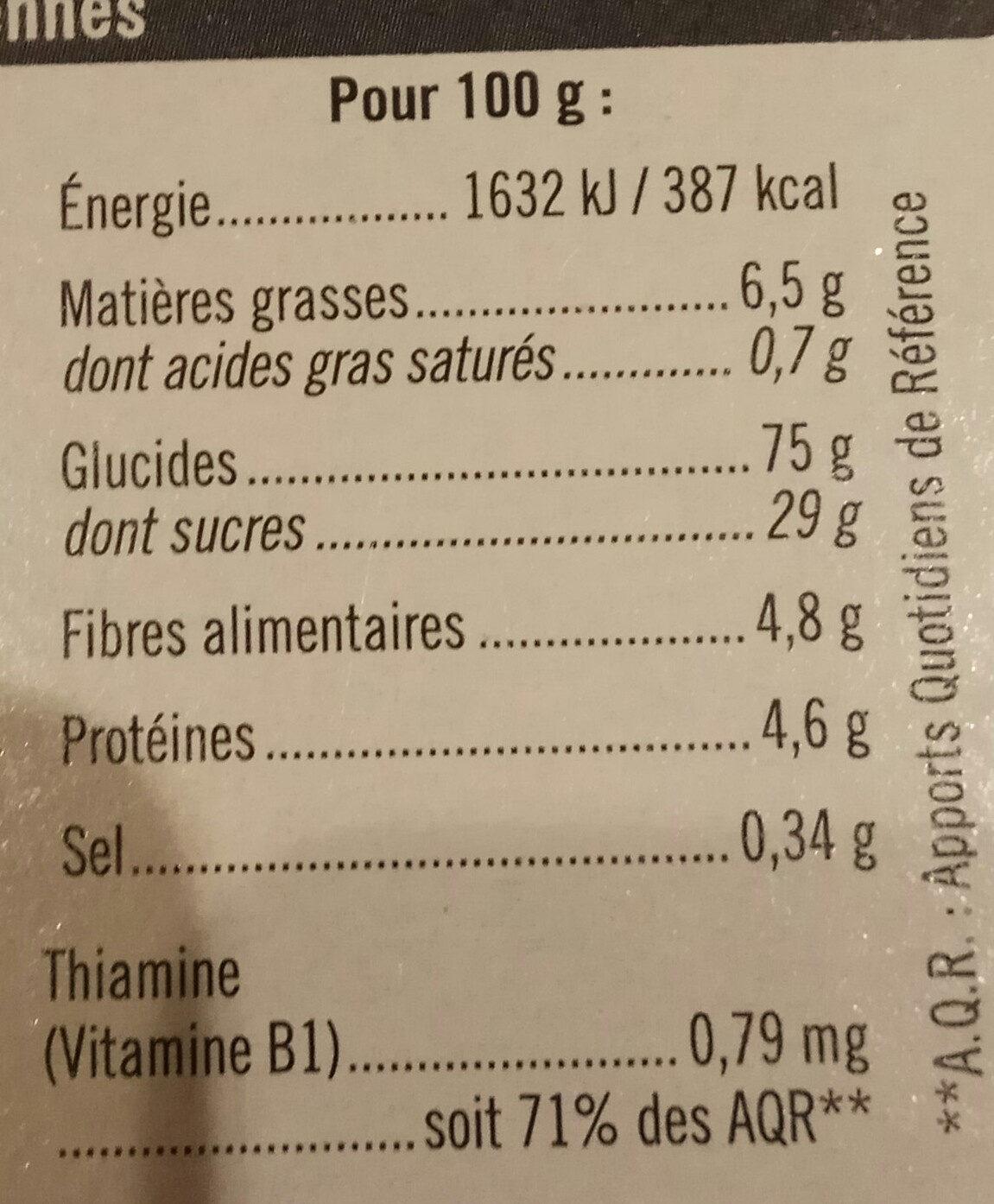 Barres de céréales aux pommes - Nutrition facts - fr