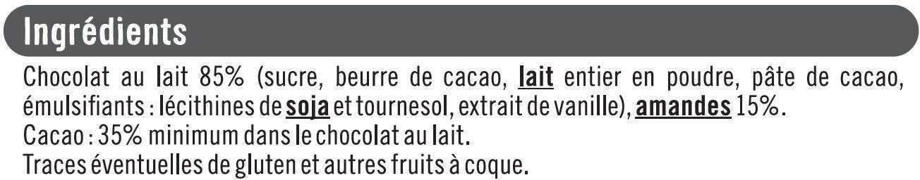 Tablettes chocolat amande - Ingrédients