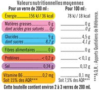 Boisson sport isotonique cerise - Informations nutritionnelles