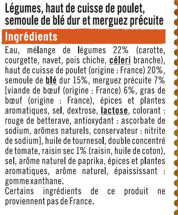 Couscous légumes poulet semoule de blé et merguez - Ingrédients - fr