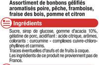 Bonbons gommes saveurs fruitées - Ingrediënten - fr