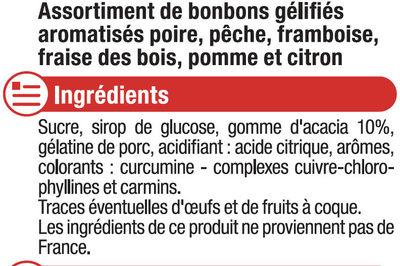 Bonbons gommes saveurs fruitées - Ingrédients - fr