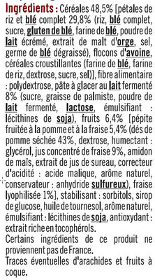 Barres céréales blé complet fraise - Ingredients