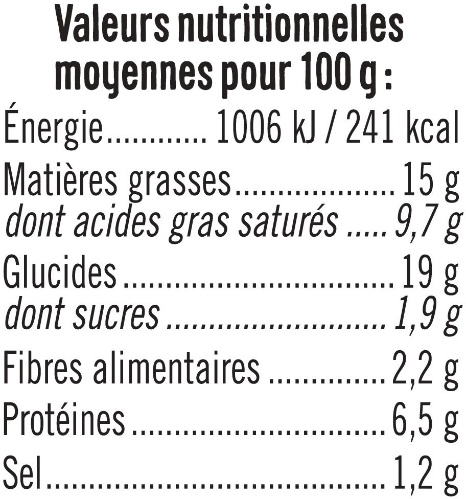 Tarte aux poireaux - Informations nutritionnelles - fr