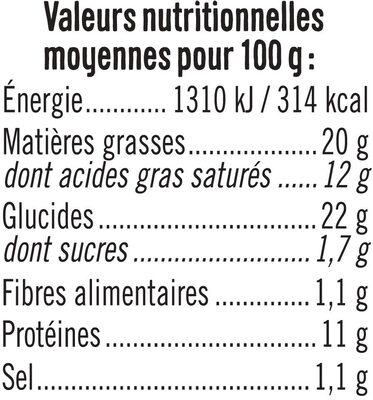 Tarte aux fromages - Nutrition facts
