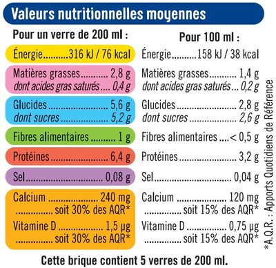 Boisson végétale au soja calcium - Informations nutritionnelles - fr