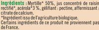 Préparation aux fruits myrtille et acérola - Ingrédients - fr