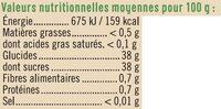 Préparation aux fruits fraise et grenade - Informations nutritionnelles - fr
