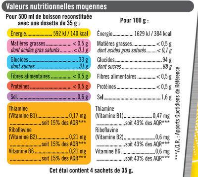 Boisson isotonique en poudre sport citron - Informations nutritionnelles