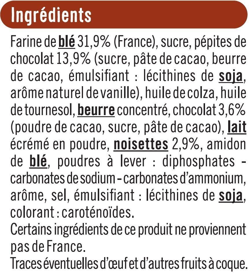 Cookies coeur fondant chocolat noisettes - Ingrediënten - fr