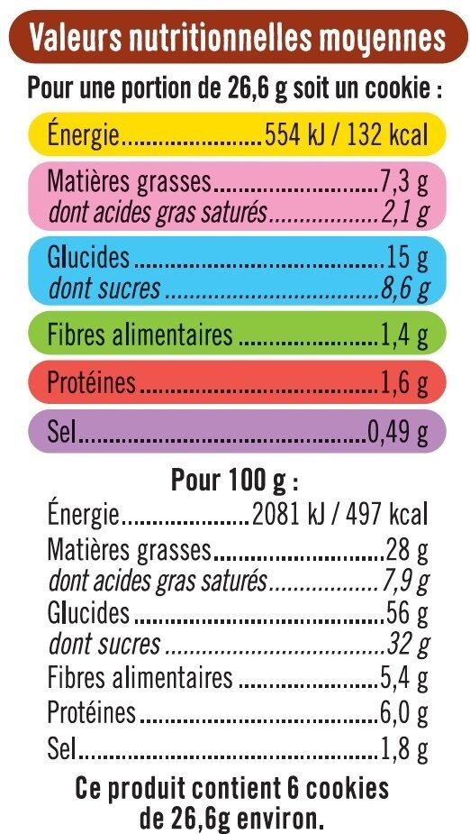 Cookies coeur fondant chocolat noisettes - Voedingswaarden - fr