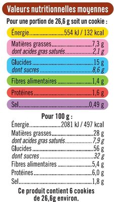 Cookies coeur fondant chocolat noisettes - Valori nutrizionali - fr
