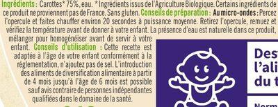 Bols de carottes sans morceaux U_TOUT_PETITS Bio - Ingrediënten - fr